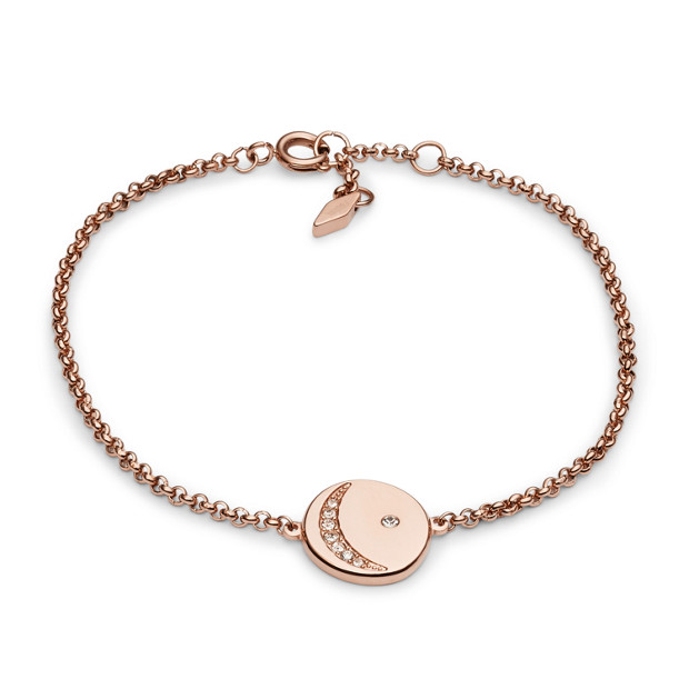 Crescent Moon Crystal Rose Gold-Tone Bracelet