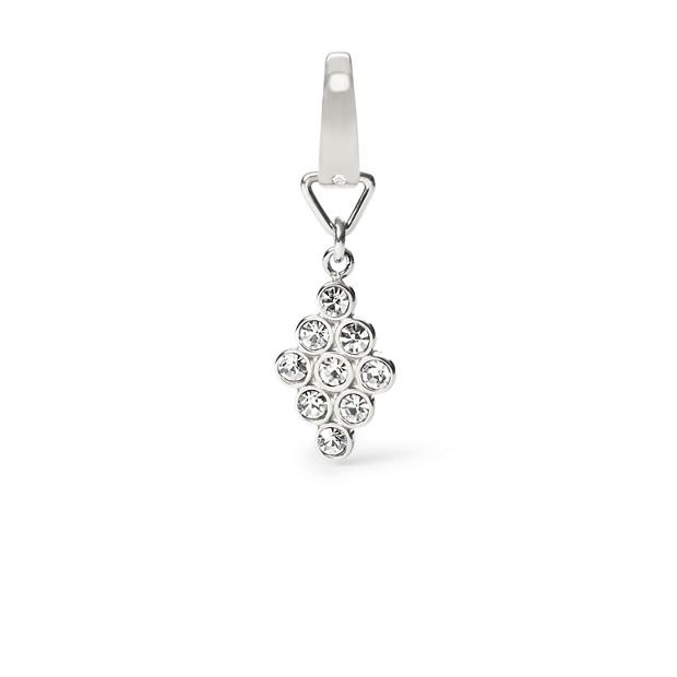 Vintage Glitz Diamond-Shaped Silver-Tone Charm