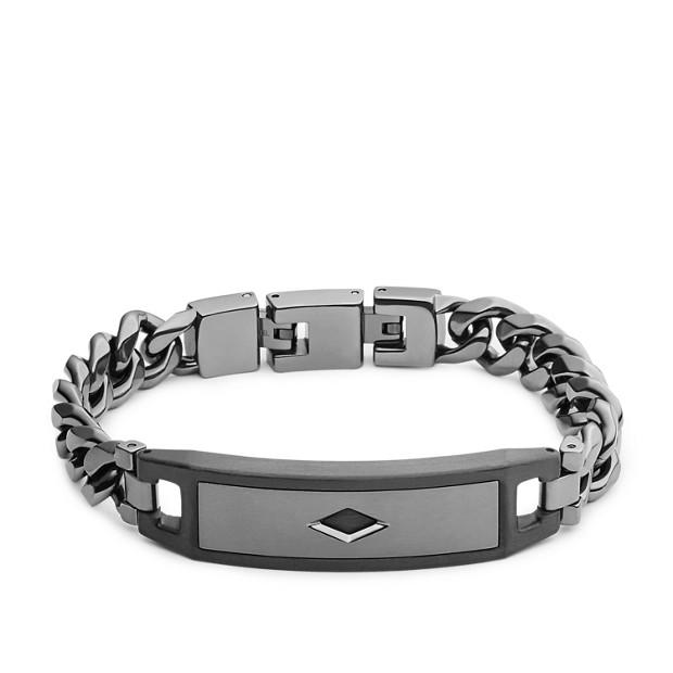 Diamond-Detail Steel Bracelet