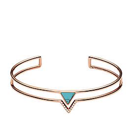 Bracelet-manchette ouvert à triangle turquoise