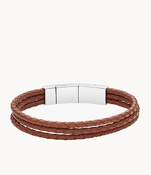 Light Brown Multi-Strand Leather Bracelet