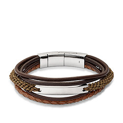 BRACELET VINTAGE CASUAL MULTI-RANGS MARRON