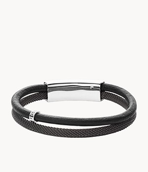 Vintage Casual Gray Leather Double Bracelet