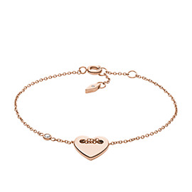 Engravable Heart Rose Gold-Tone Steel Bracelet