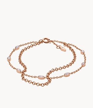 Navette Pink Glass Double-Chain Bracelet