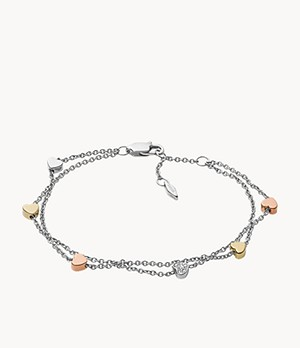 Heart Tri-Tone Steel Double-Chain Bracelet