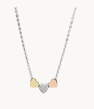 Heart Tri-Tone Steel Necklace