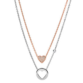 Double Heart Two-Tone Steel Necklace
