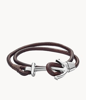 Anchor Brown Leather Wrist Wrap