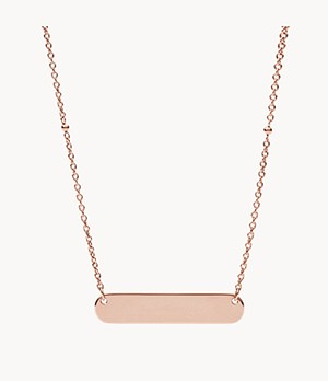 Plaque Rose-Gold-Tone Steel Necklace