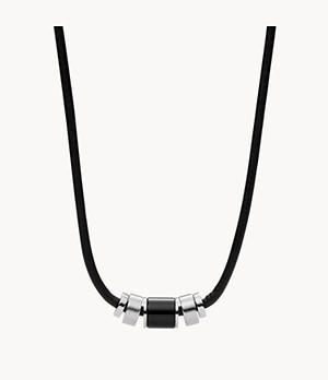Herren Halskette Black Leather And Black Agate Bead Necklace
