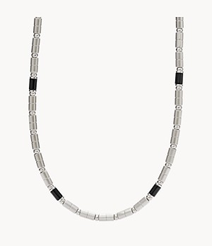 Herren Halskette Black Agate Stainless Steel Necklace