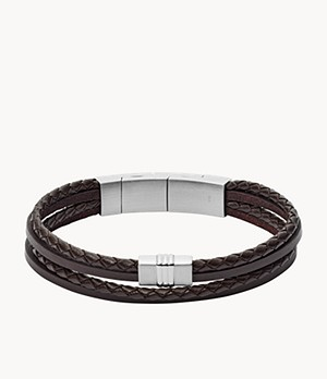 Herren Armband Brown Multi-Strand Braided Leather Bracelet