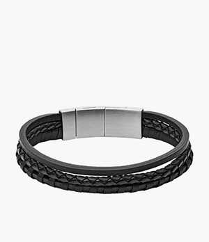 Black Multi-Strand Braided Leather Bracelet