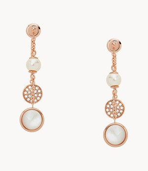 Damen Ohrringe Rose Gold-Tone Steel Triple Drop Glitz Earrings