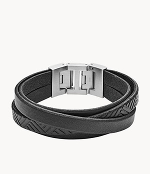 Herren Armband -Textured Black Leather Wrist Wrap