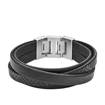 bracelet cuir homme fossil noir