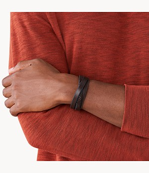 Herren Armband -Textured Brown Leather Wrist Wrap