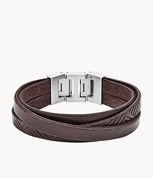 Textured Brown Leather Wrist Wrap