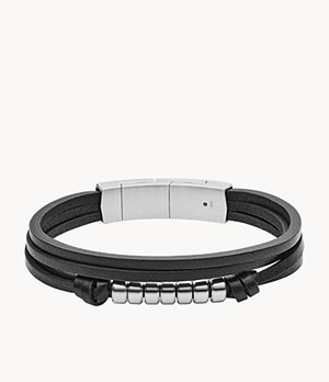 Multi-Strand Black Leather Bracelet