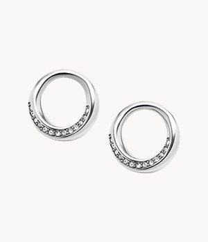 Damen Ohrringe Twist Stainless Steel Hoops
