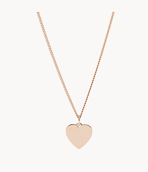 Heart Rose-Gold-Tone Stainless Steel Necklace