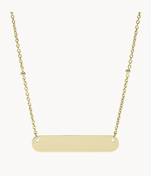 Plaque Gold-Tone Stainless Steel Necklace