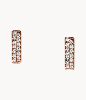 Rose Gold-Tone Stainless Steel Glitz Studs