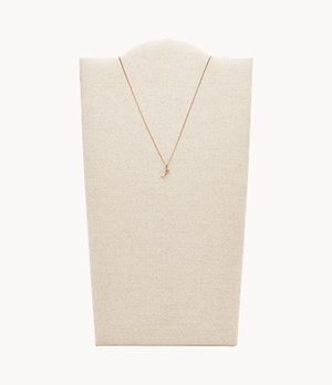 Letter J Rose-Gold-Tone Stainless Steel Necklace