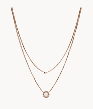 Double Glitz Rose-Gold-Tone Steel Necklace