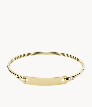 Plaque Gold-Tone Stainless Steel Bangle