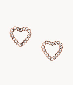Open Heart Rose Gold-Tone Stainless Steel Earrings