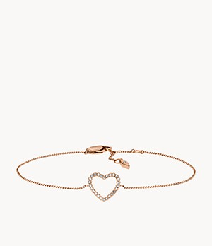 Open Heart Rose Gold-Tone Stainless Steel Bracelet