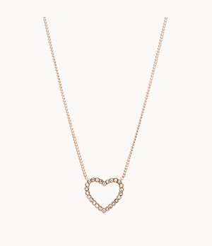 Open Heart Rose Gold-Tone Stainless Steel Necklace