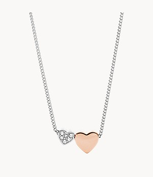 Duo Hearts Two-Tone Stainless Steel Necklace