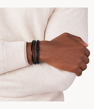 Herren Armband Multi-Strand Black Leather