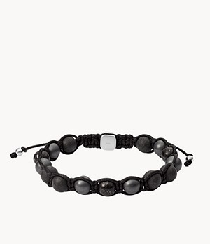 Herren Armband Hematite, Black Marble and Carbon Fiber Beaded Bracelet