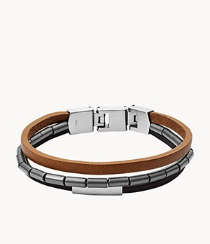 Herren Armband Multi-Strand Black and Brown Leather