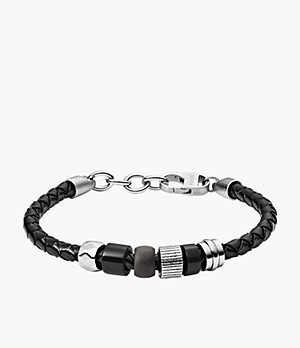 Herren Armband Rondelle Black Leather