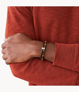 Tiger's Eye and Brown Leather Bracelet