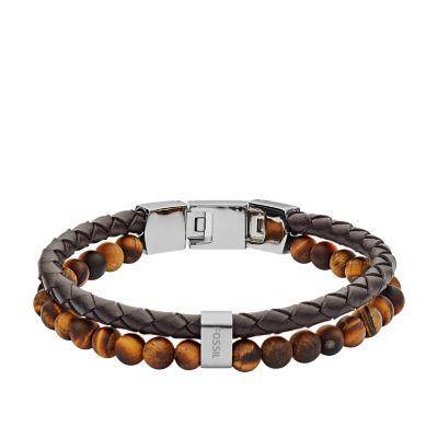 bracelet cuir homme fossil marron