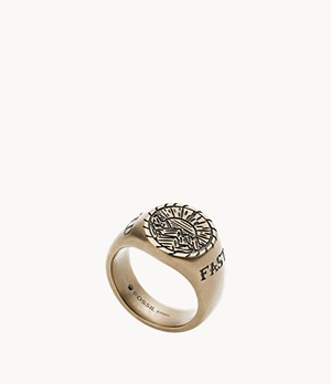 Signet Antique Gold-Tone Stainless Steel Ring