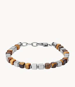 Square Tiger's Eye and Stainless Steel Beaded Bracelet