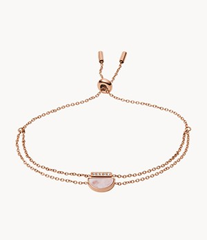 Duo Half Moon Rose Gold-Tone Stainless Steel Bracelet