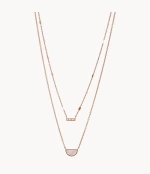 Duo Half Moon Rose Gold-Tone Stainless Steel Necklace