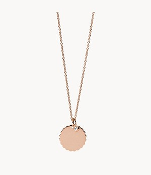 Scalloped Disc Rose Gold-Tone Stainless Steel Necklace