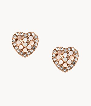 Mosaic Heart Rose Gold-Tone Stainless Steel Earrings