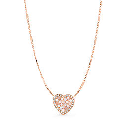 2743bc3d442 Mosaic Heart Rose Gold-Tone Stainless Steel Necklace