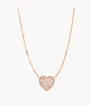 Mosaic Heart Rose Gold-Tone Stainless Steel Necklace