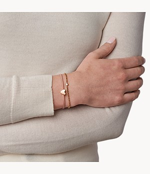 Duo Heart Rose Gold-Tone Stainless Steel Bracelet